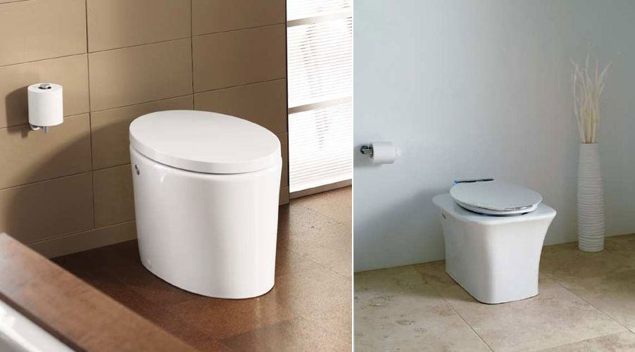 Tankless toilet with Power Lite technology. Left  the Purist Hatbox from Kohler  Tankless toilet with Power
