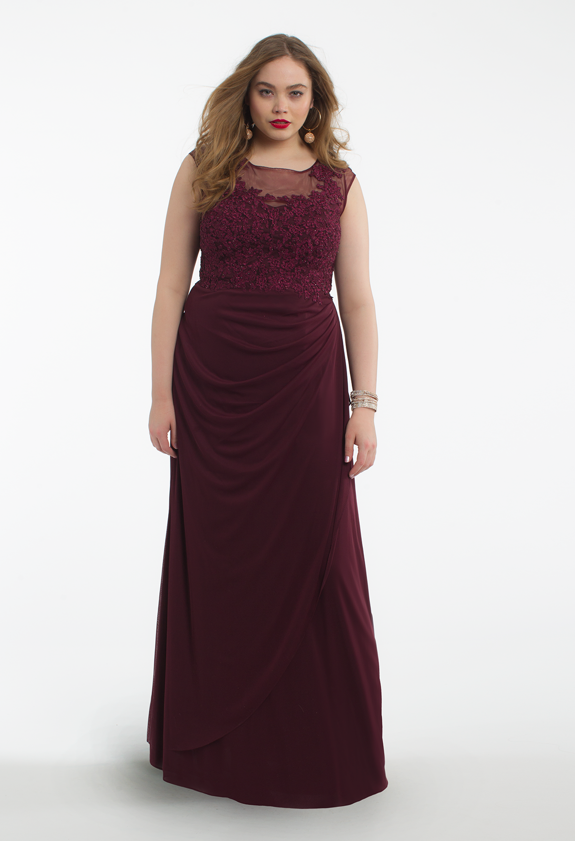 Illusion cap sleeve applique side dress illusion neckline long