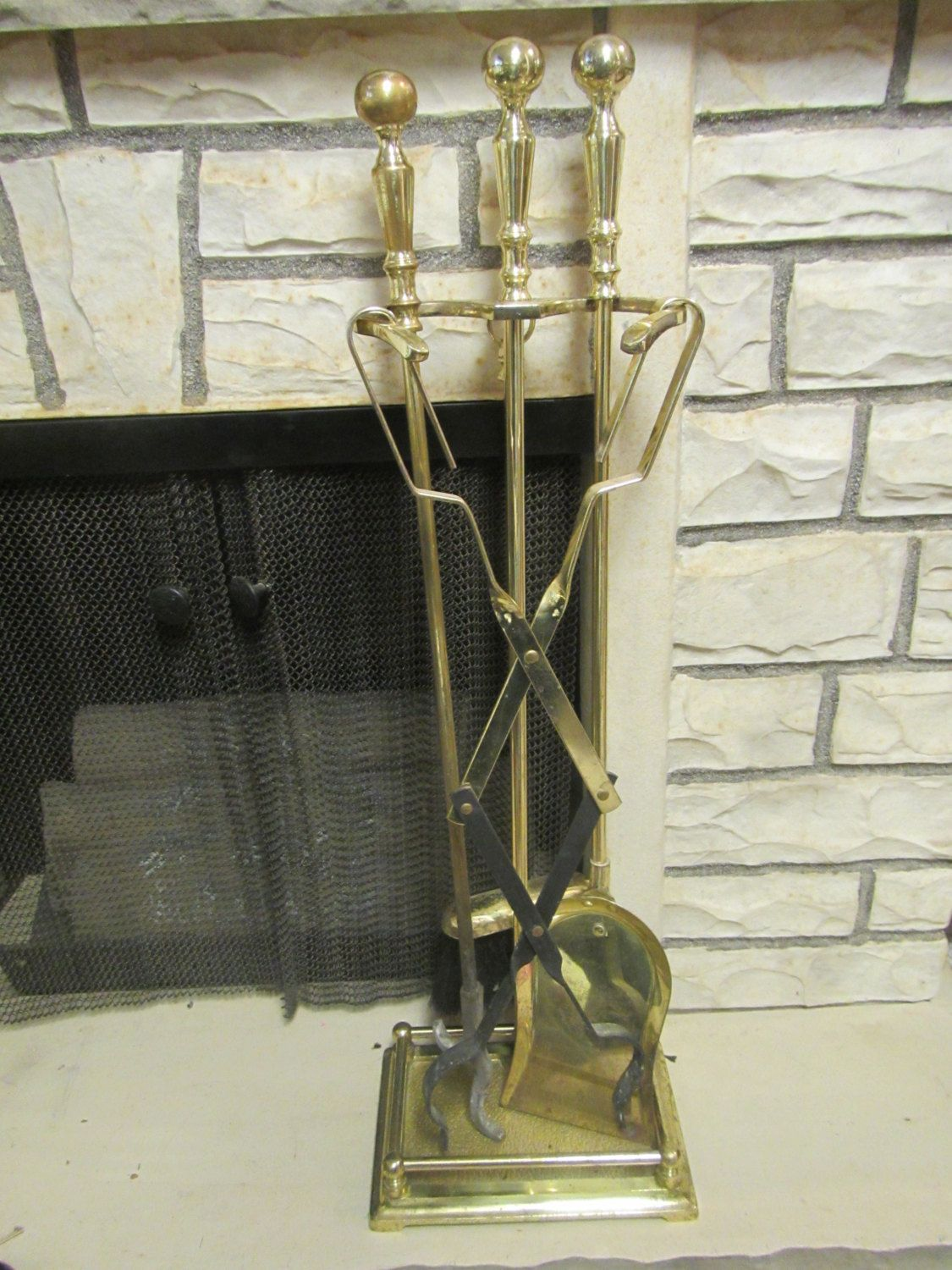 Vintage Brass Fireplace Tool Set Shovel Broom Log Tongs And