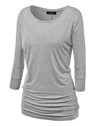 4a2eec98aea7 Light-Weight Jersey: 95% RAYON 5% SPANDEX - Made in U.S.A. - Womens dolman  sleeve boat neck drape jersey top with side shirring / Lightweight dolman  top ...
