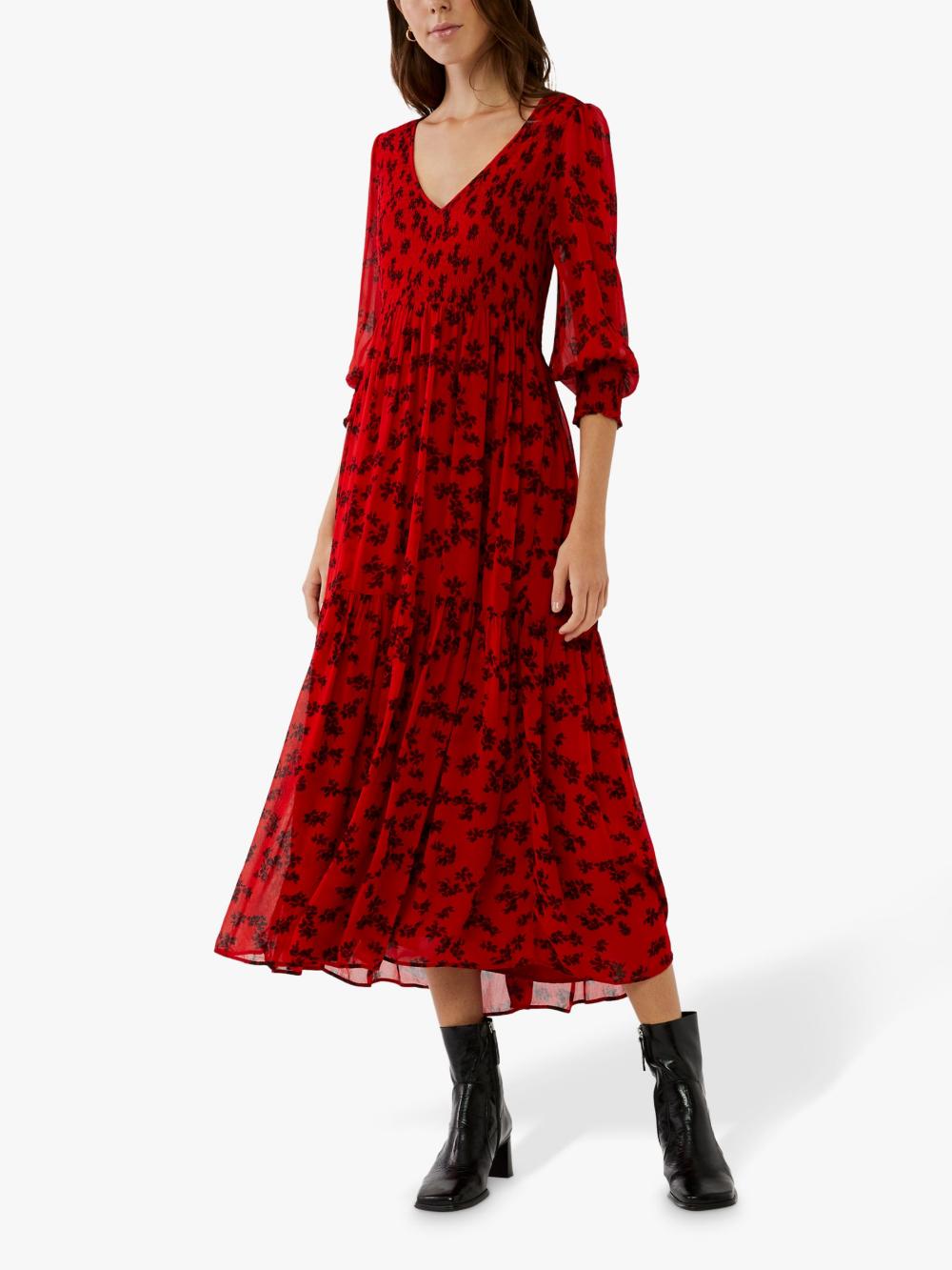 Ghost Jacinta Floral Midi Dress Red Floral Midi Dress Three Quarter Sleeve Dresses Red Midi Dress [ 1333 x 1000 Pixel ]