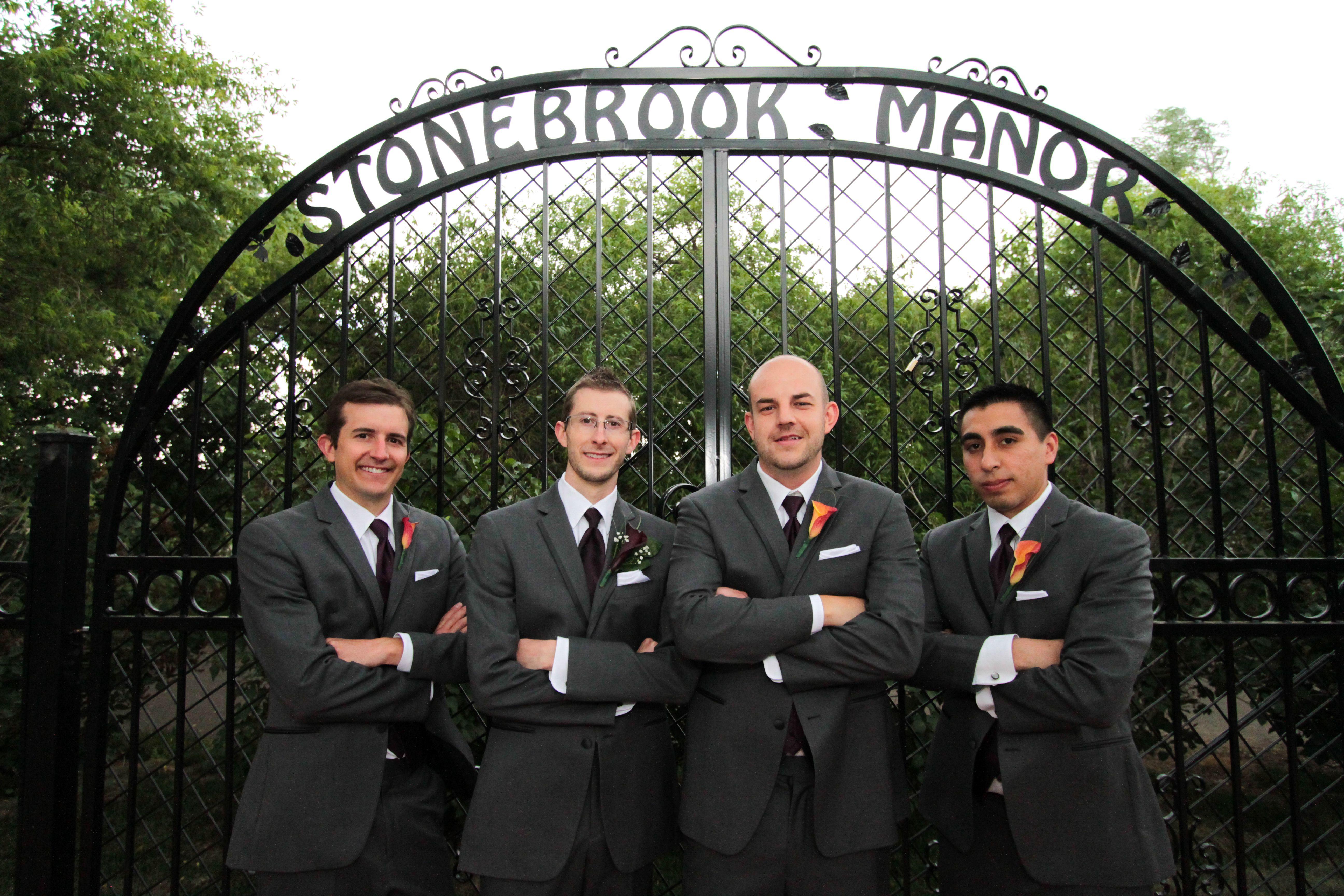 Looking tough in front of Stonebrook Manor's love gate. June 2014.  #StonebrookWeddings