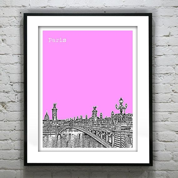 Paris France Poster City Skyline Art Print by AnInspiredImage, $18.95