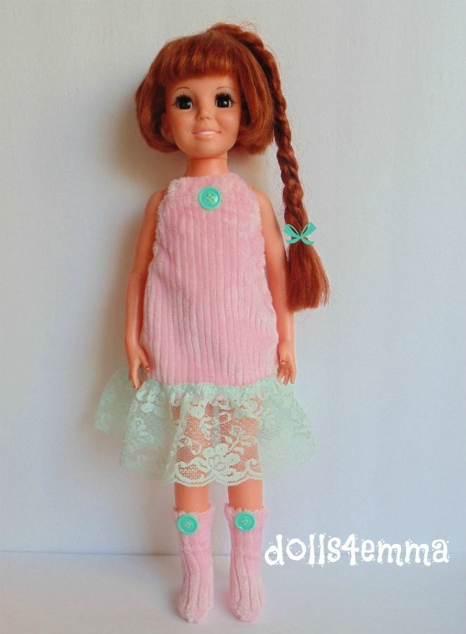 Crissy Clothes Pink DRESS + Fuzzy BOOTS Mint Lace Retro Handmade Fashion