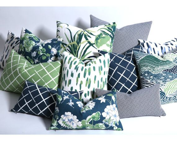 blue green coordinated pillow cover