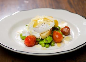 Warm Fava Bean and Cherry Tomato Salad with Poached Egg