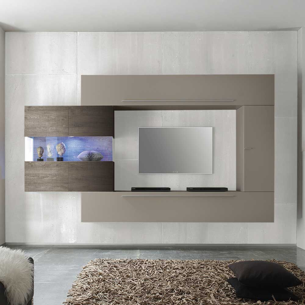 Ansprechend Wohnzimmerschrank Hängend Foto Von Tv Wand In Beige Wenge Hängend (4-teilig)