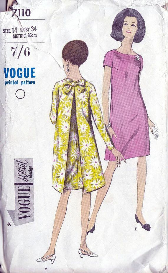60s Vogue special design evening dress sewing pattern 7110, Bust 34 ...