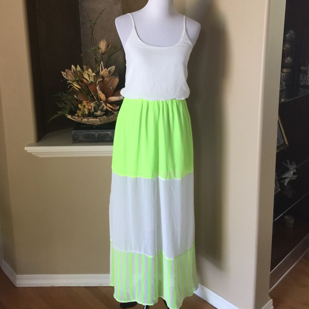 White and neon green maxi dress green maxi dresses neon green and