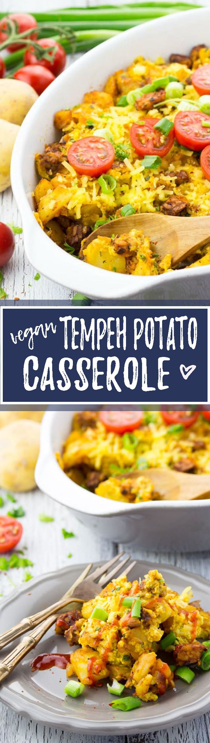 """This vegan breakfast casserole with BBQ tempeh """"bacon"""" and potatoes is perfect for a hearty breakfast or even brunch. Delicious and super easy to make!"""