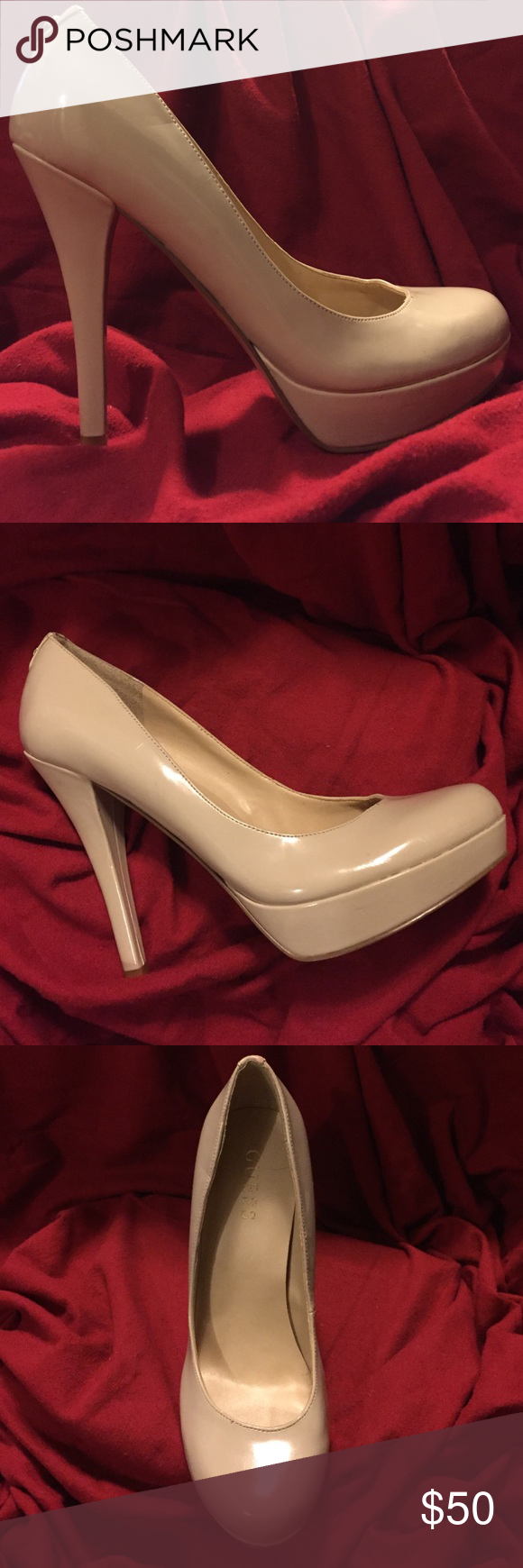 Guess cream heels, perfect condition Guess brand cream heels. Worn once, no damage, perfect condition. Size 8 Guess Shoes Heels