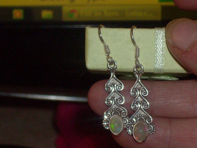 LOOK!!!! A BEAUTIFUL PAIR OF ETHIOPIAN OPAL STERLING SILVER DANGLE EARRINGS