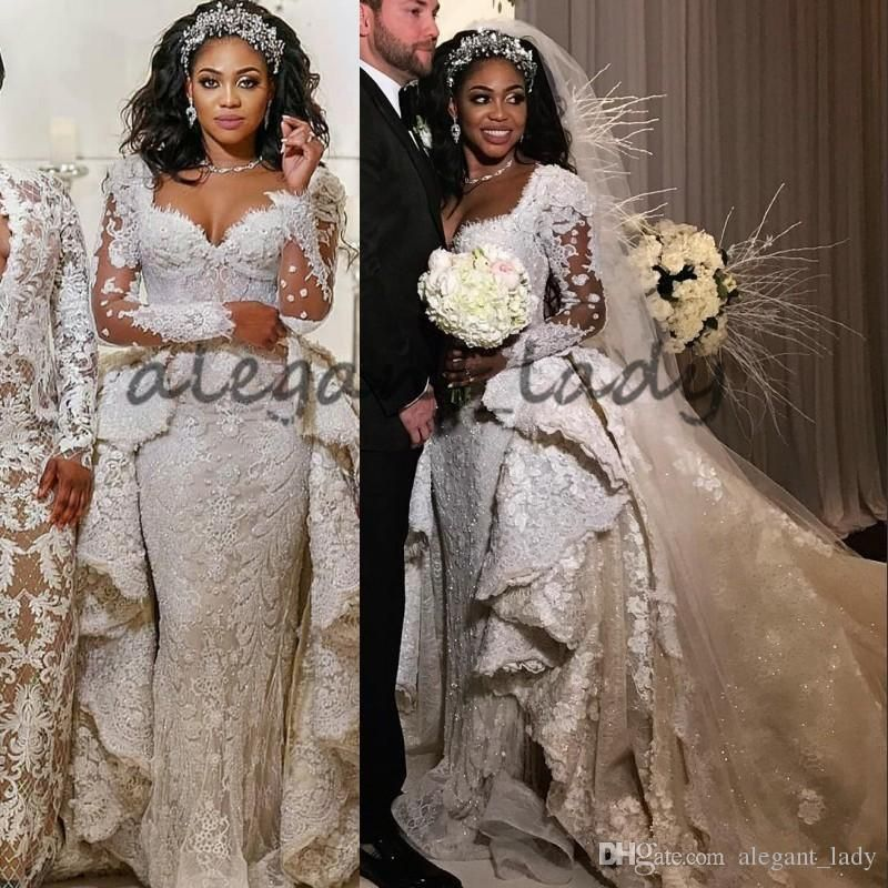 90d93a126cce6 Luxury Lace Crystal Long Sleeve Wedding Dresses with Overskirt 2018 Plus  Size Kaftan Caftan Elie Saab Castle Dubai Bridal Wedding Gown Overskirt  Evening ...