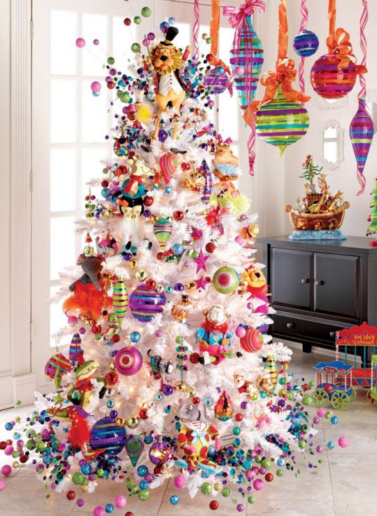 Holiday Menagerie Christmas Tree Decorating Theme A Colorful Tree For The Kid Whimsical Christmas Trees Christmas Tree Decorating Themes Cool Christmas Trees