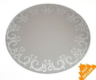 Round Centerpiece Mirror W Etched Pattern 12 Mirror Crafts Round Mirrors Framed Mirror Wall