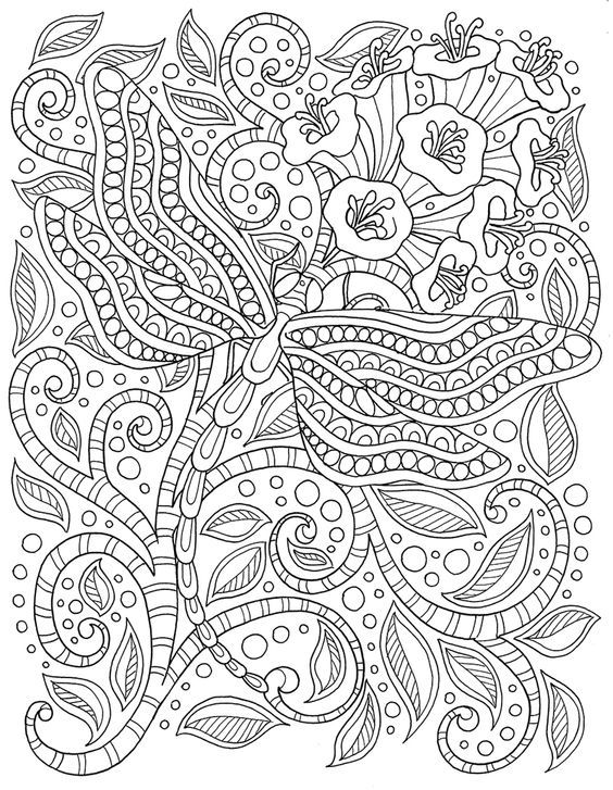 Dragonfly coloring page | Color me, please | Coloring pages, Adult ...