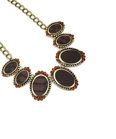 Take a look at this Gold & Brown Necklace by Buy in America on #zulily today! $15 !!