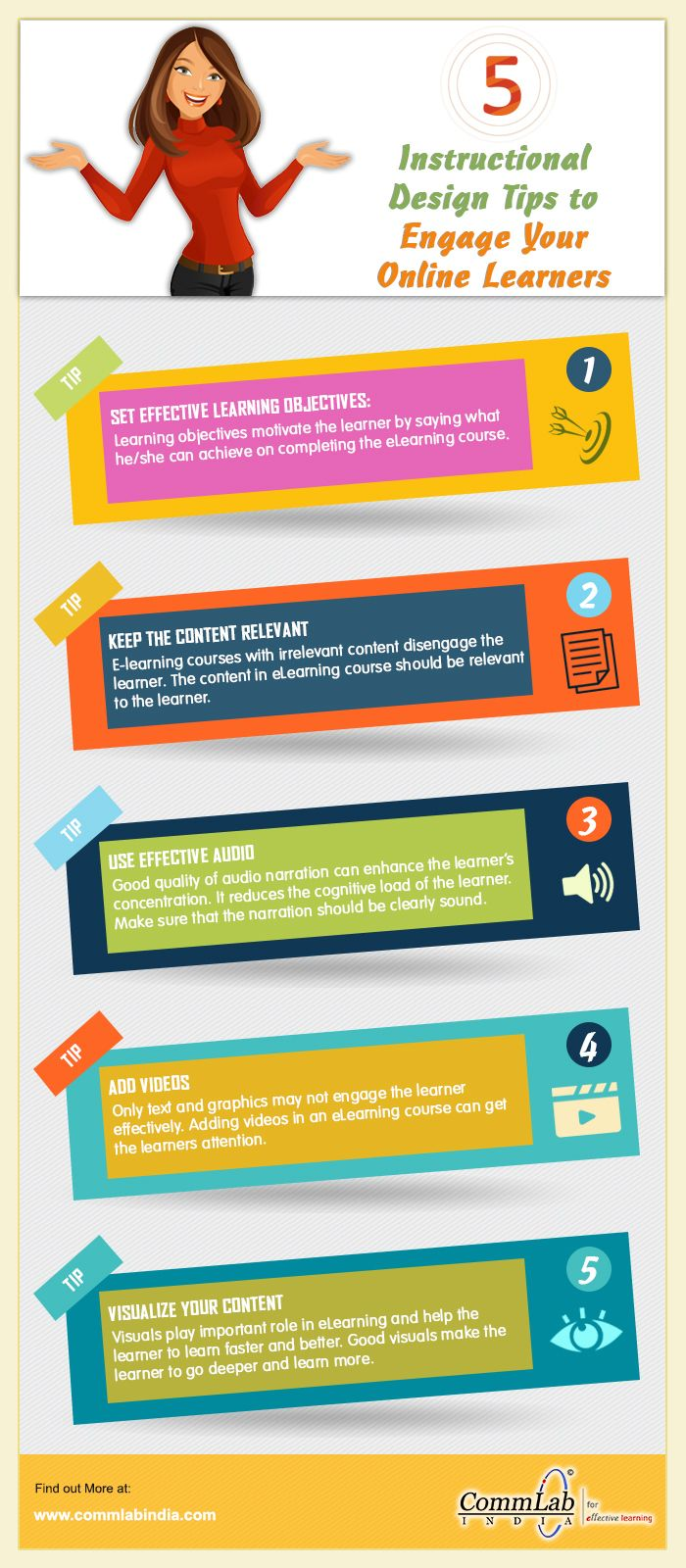 5 Instructional Design Tips To Engage Online Learners An Infographic Instructional Design Effective Learning Elearning