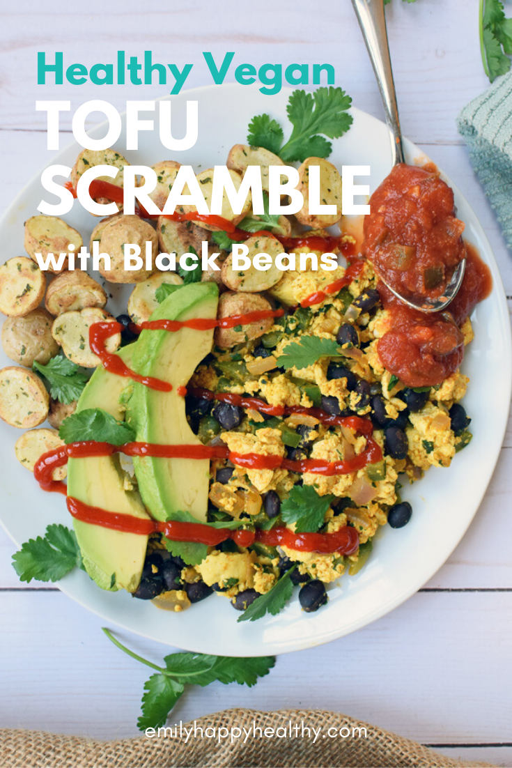 Southwest Tofu Scramble With Black Beans Emily Happy Healthy Recipe In 2020 Hearty Breakfast Recipes Tofu Scramble Scrambled Tofu Recipe