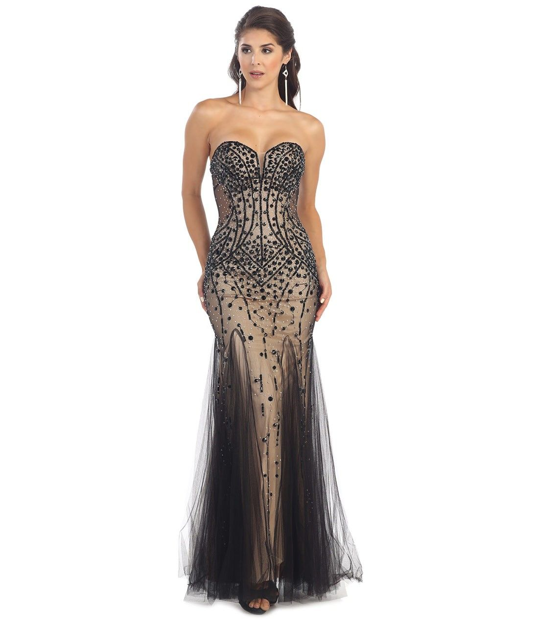 Black & Nude Strapless Sweetheart Beaded Dress