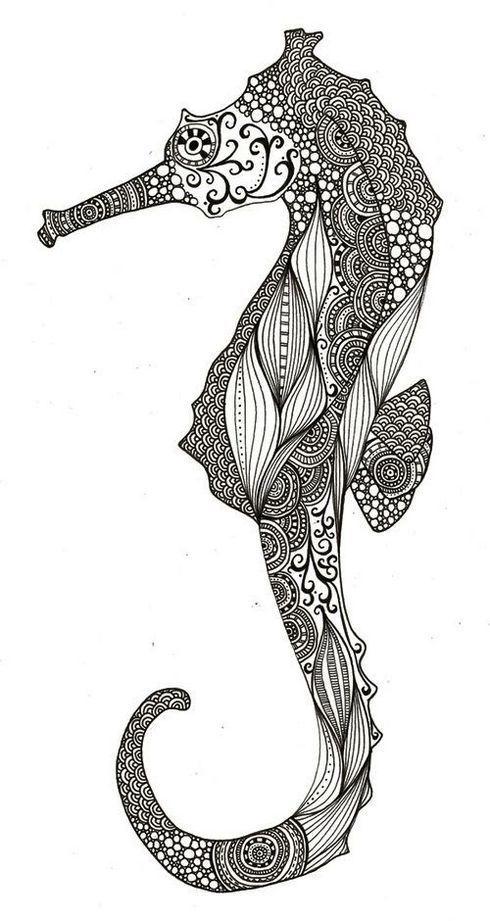 Printable Seahorse Coloring Page Mandala Zentangle Body Art Art