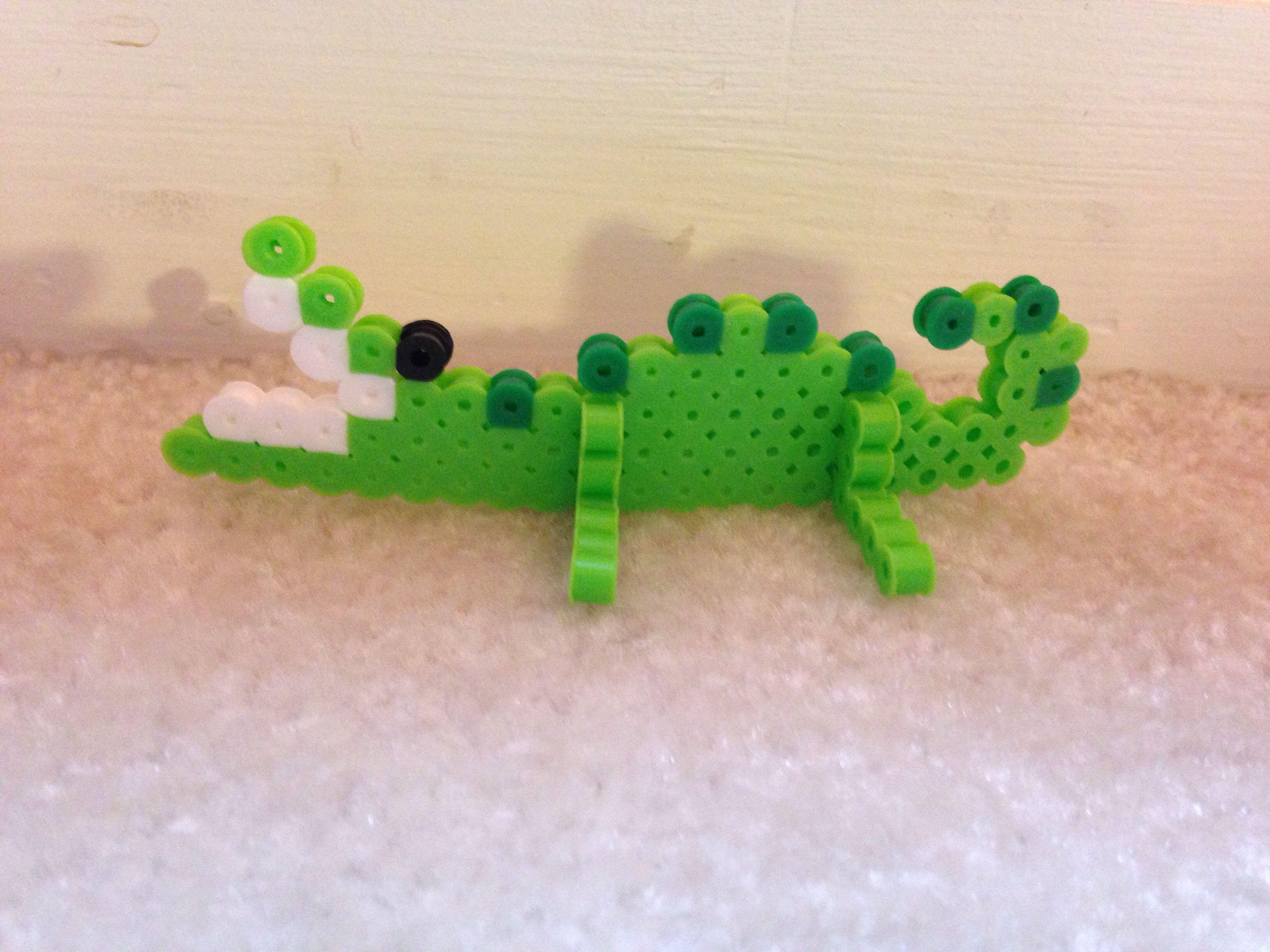 Green 3 D Alligator Made Of Perler Beads Perler Beads