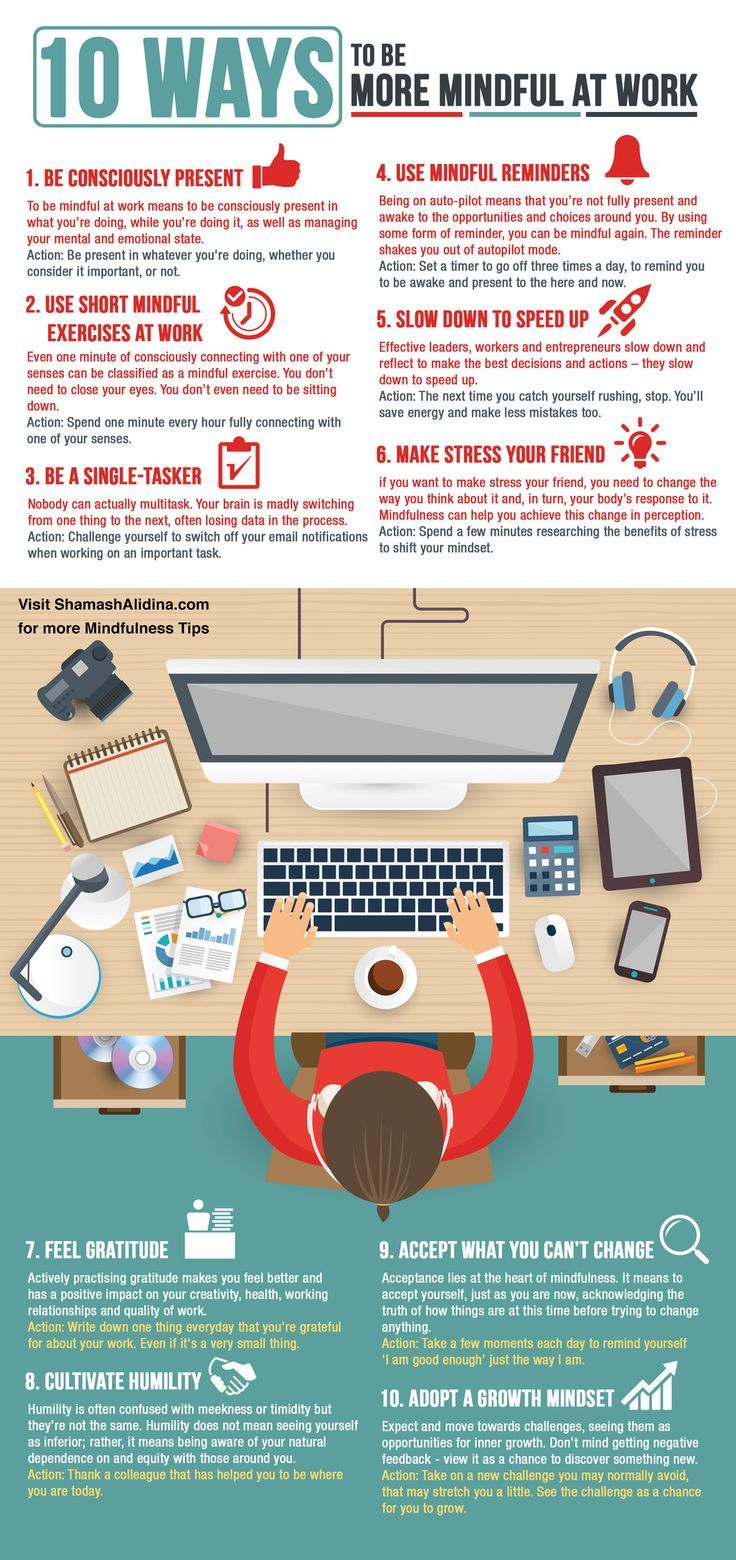 Stop stressing at work Embrace mindfulness Discover the top 10 ways to be more mindful at work and get better performance and mental health  INFOGRAPHIC