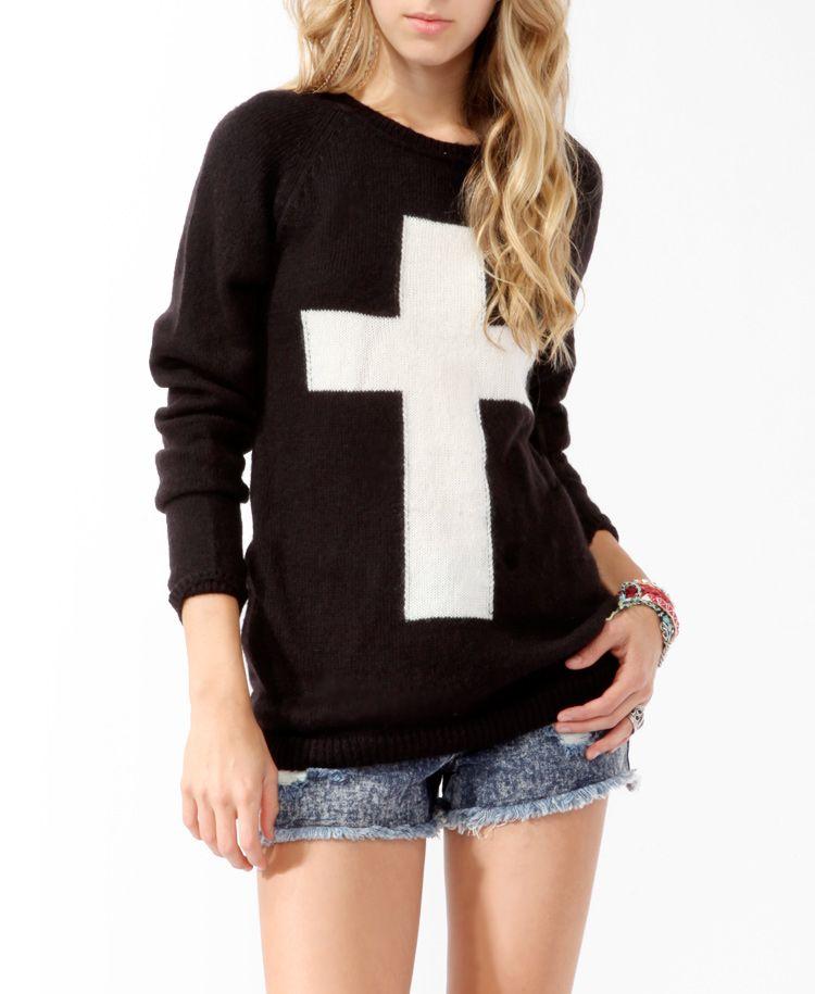 #MIXEDMETALS Contrast Cross Longline Sweater