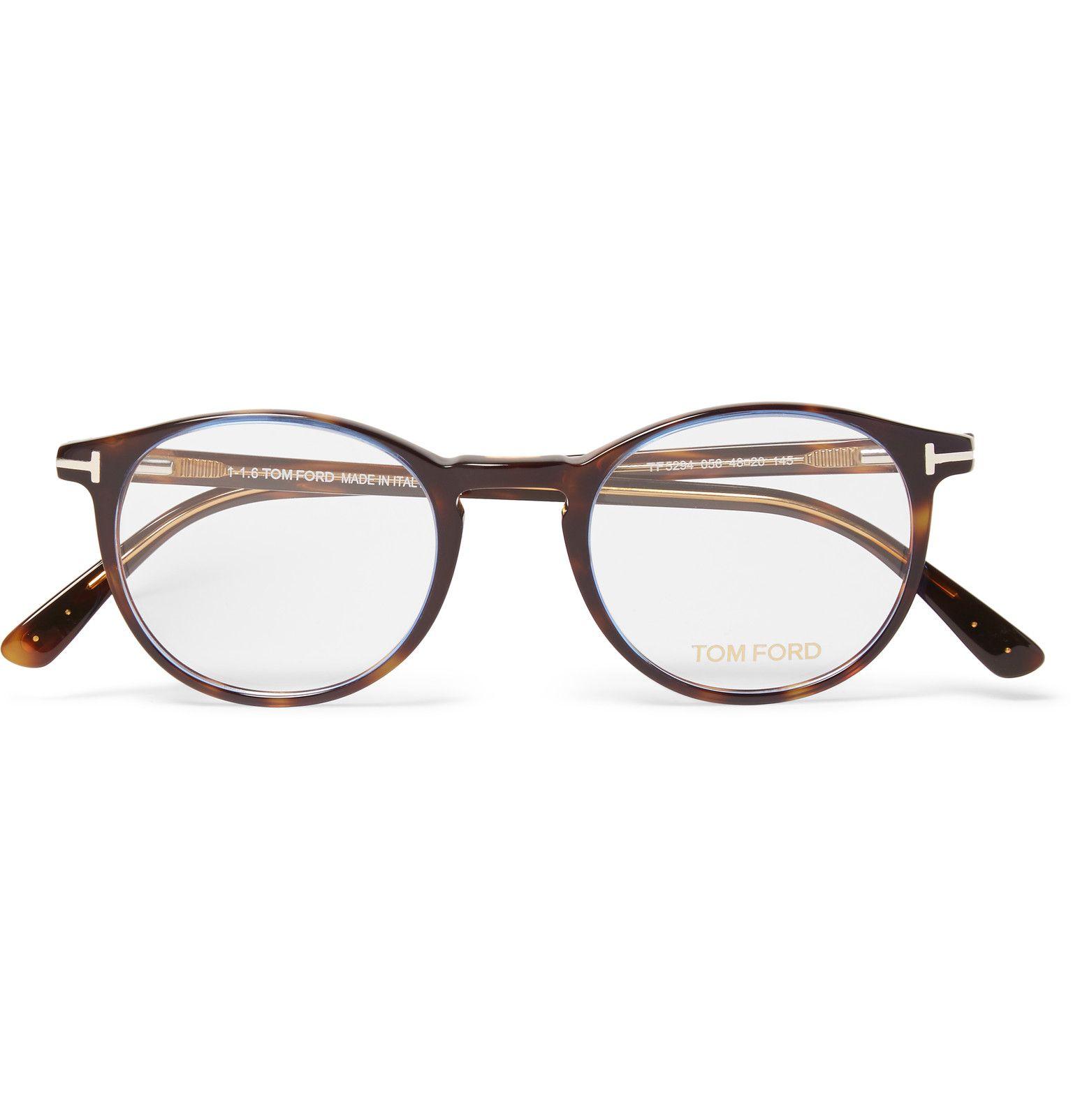 8db7cc4a0e49 Tom Ford Round Frame Tortoiseshell Acetate Optical Glasses