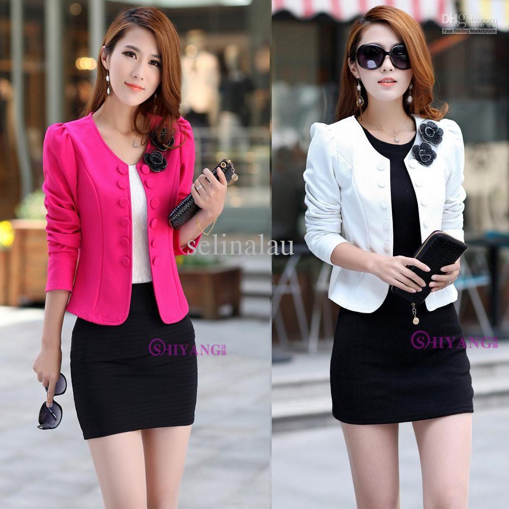 Fashion Women Slim fit Business Suit Blazer Cute Sexy Jacket Coat ...