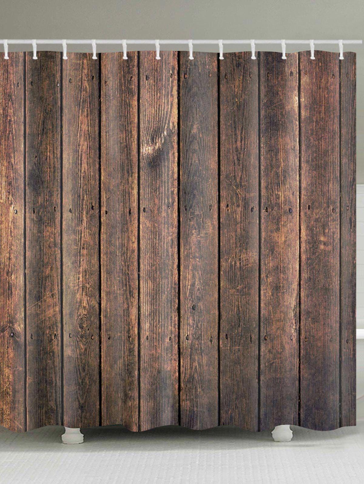 Wood Plank Print Shower Curtain Bathroom Decor in Bathroom