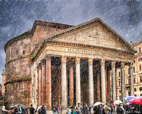 Sold a print of Moody Winter Day At The Ancient Pantheon - Rome to a buyer from San Jose, CA