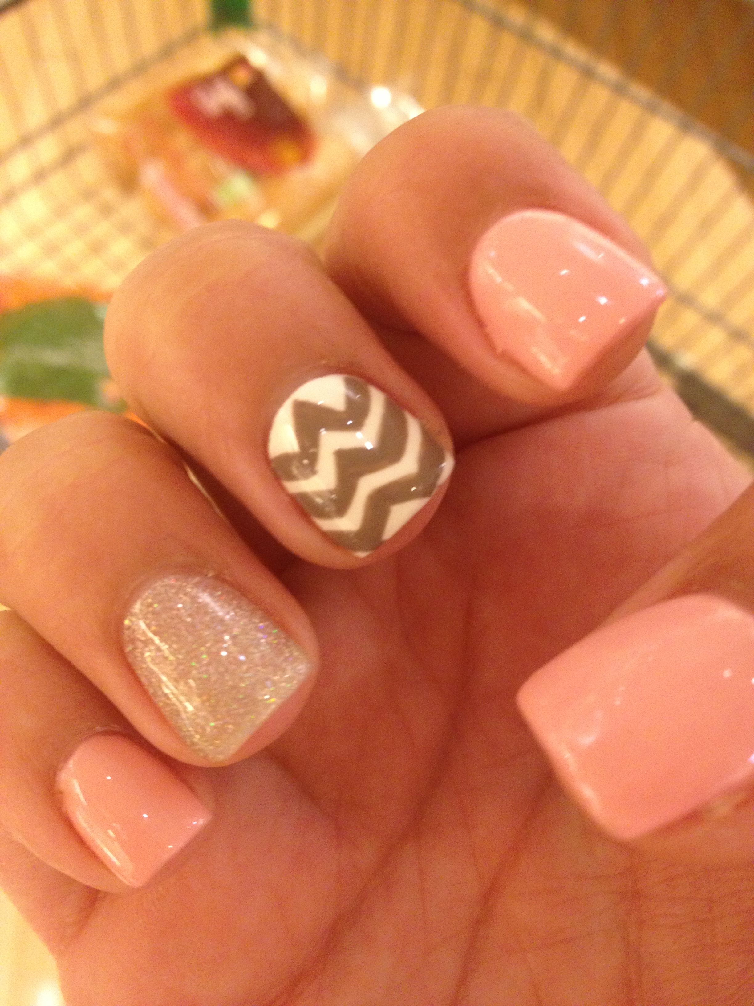 Super easy chevron stripe nail design hair and nails and makeup sparkly summer nails nails pink pretty nail art summer nails chevron so cute have to try this out this summer prinsesfo Images
