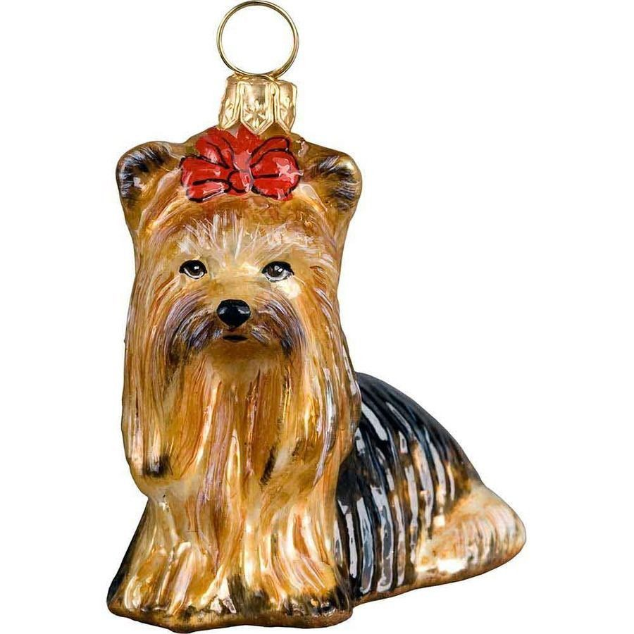 The Pet Set Yorkshire Terrier Yorkie Glass Christmas Ornament Handcrafted In Europe By Joy To The Wor Dog Ornaments Glass Christmas Ornaments Animal Ornament