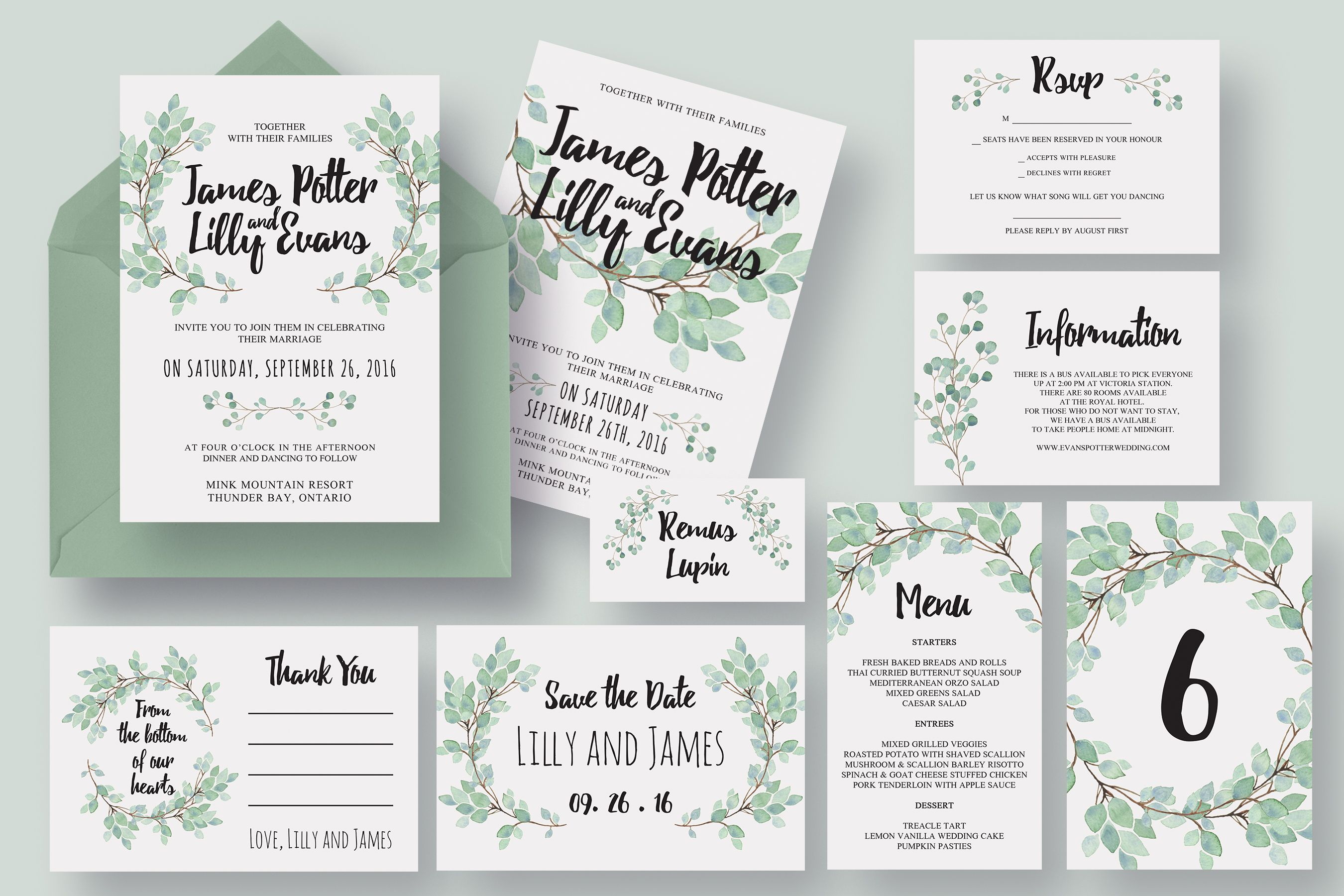eucalyptus wedding invitation suite by knotted design on creative