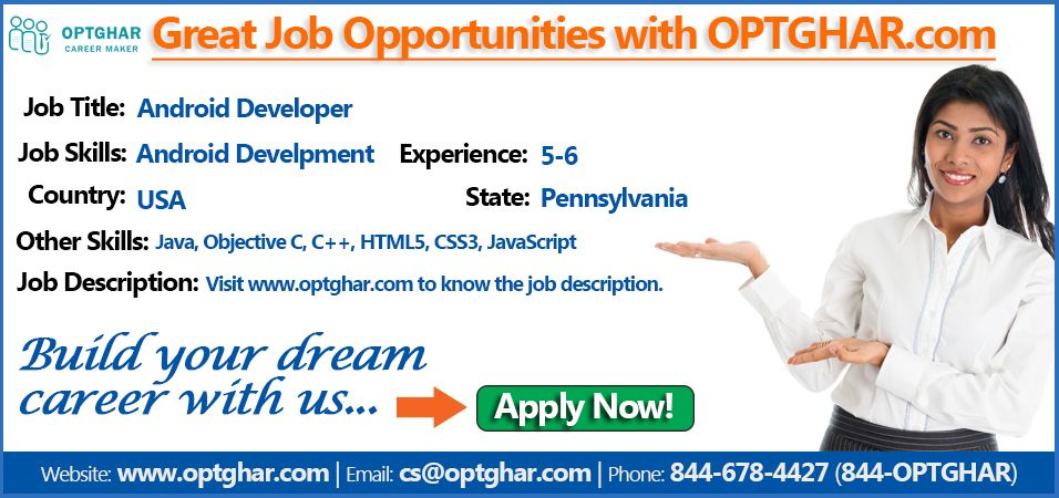 Android Developer Job Opportunities in USA. Click here