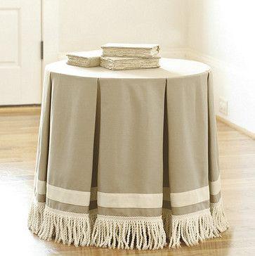Round pleated tablecloths with bullion fringe