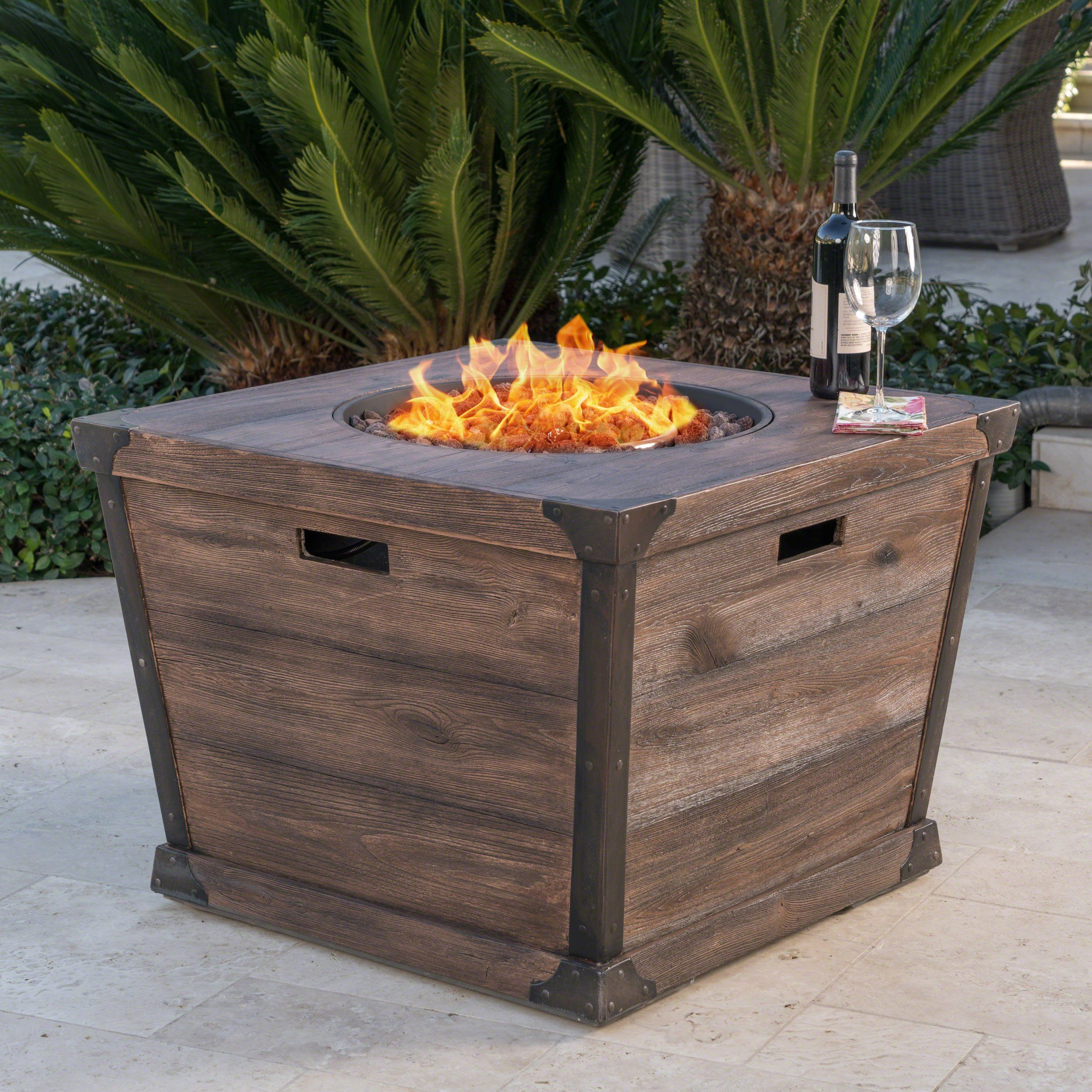 madge outdoor brown 32 inch square fire pit 40 000 btu square