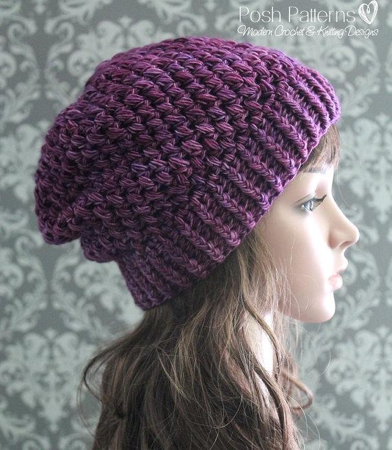 Crochet PATTERN Crochet Slouchy Hat Pattern Baby por PoshPatterns ...