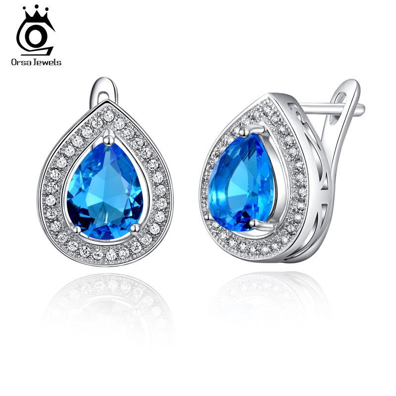 Orsa jewels luxe 3ct aaa blue water drop crystal oorbellen voor vrouwen mode zilveren brinco sieraden oe97