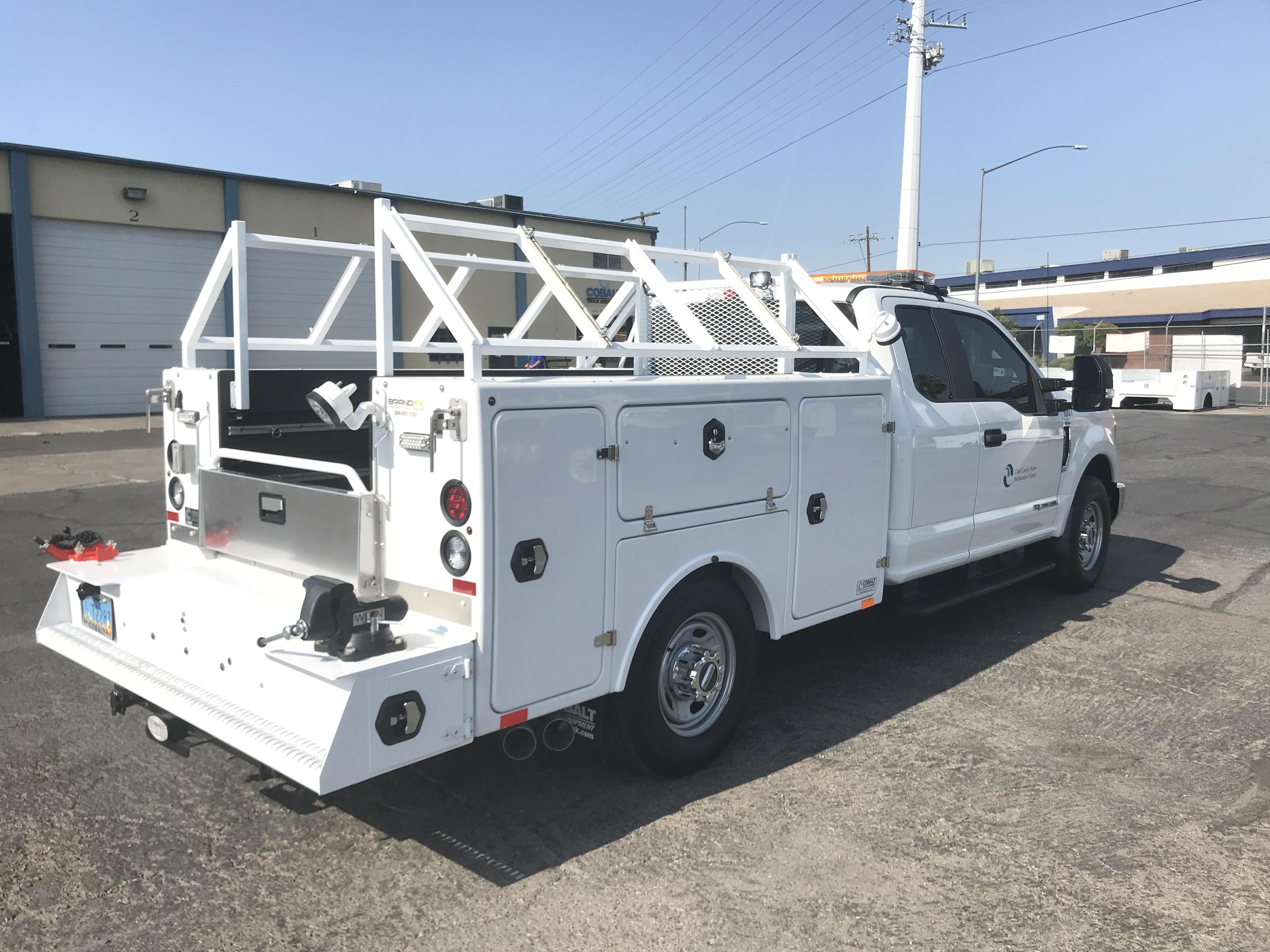 This Brandfx Service Body Is Complete With A Slide N Lock Cargo Management System And An Epic Custom Ladder Rack Custom Truck Beds Work Truck Built Truck