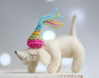 Aguja fieltro perro salchicha Dachshund color por FeltArtByMariana