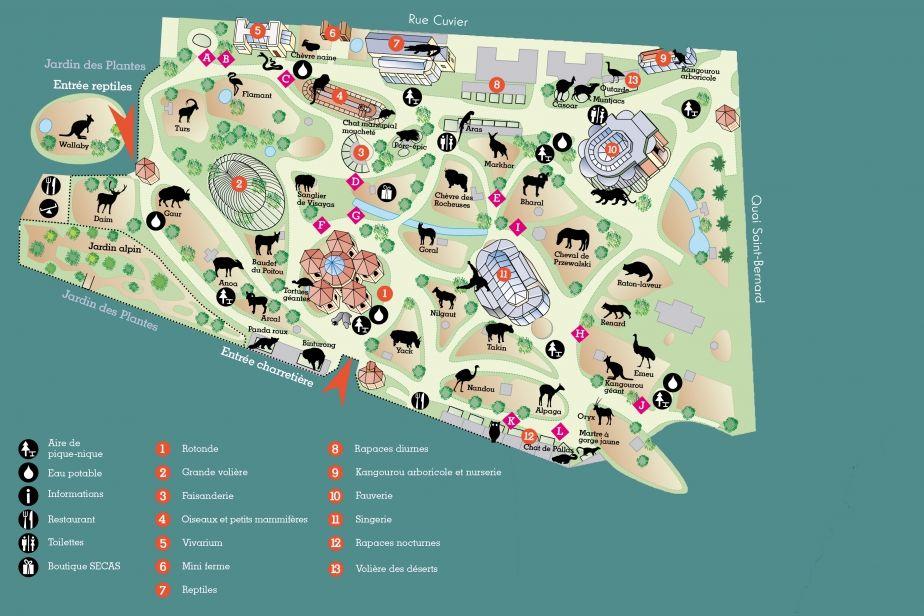 Plan de la m nagerie le zoo du jardin des plantes le - Jardin des plantes angers horaires ...