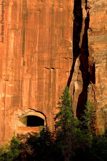 Zion National Park - this is one of the windows cut into the rock in the tunnel through which the road runs - amazing