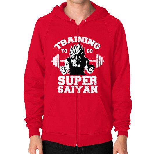 Training to go Super Saiyan Zip Hoodie (on man)