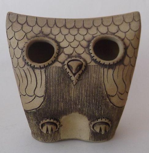 Mid Century Studio Art Pottery Carved Owl