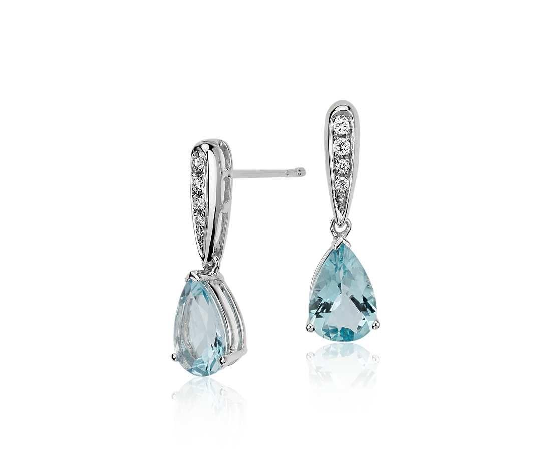 Aquamarine And Diamond Pear Drop Earrings In 14k White Gold (9x6mm
