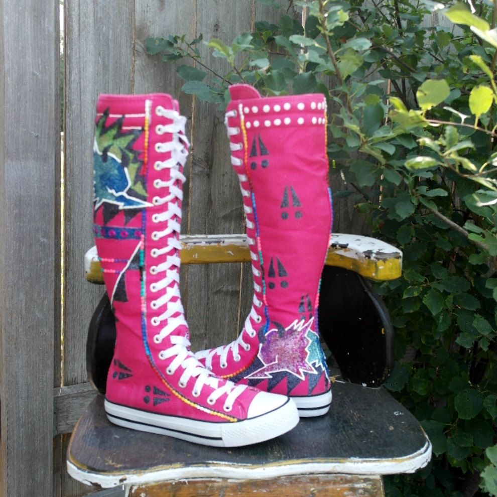 size 6 Hand Painted Tall Sneakers / Boots  By  Rez Hoofz    ready to ship  Please Read full description below by REZHOOFZ on Etsy