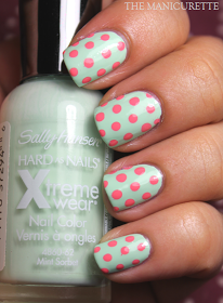 Seafoam Nails With Coral Polka Dots