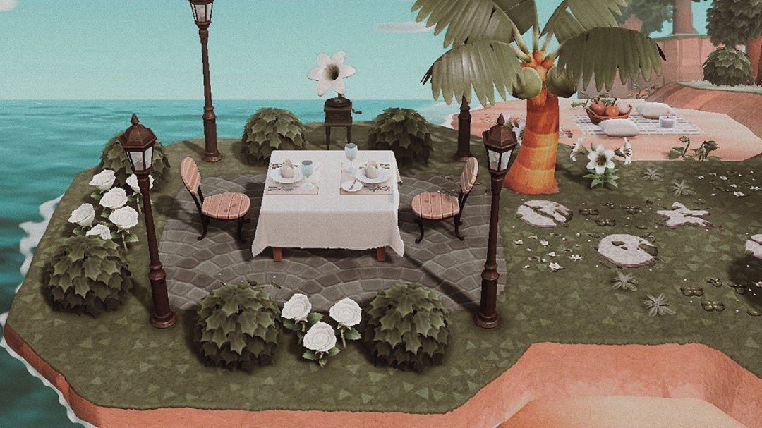 Acnh Inspiration On Instagram Simple Yet Elegant Here S Another Table For Two By The Ocean Animal Crossing Animal Crossing Game New Animal Crossing